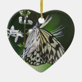 Polinating White and Black Butterfly Christmas Ornament