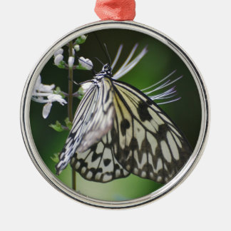Polinating White and Black Butterfly Ornaments