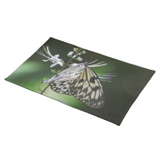 Polinating White and Black Butterfly Place Mats