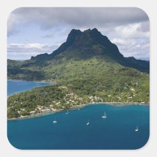 Polinesia francesa, Bora Bora. Vista aérea a Pegatina Cuadrada