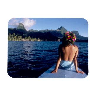 Polinesia francesa, Moorea. Mujer que disfruta de  Iman De Vinilo