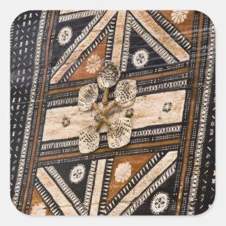 Polinesia, Reino de Tonga. Detalle del tapa Pegatinas Cuadradas Personalizadas