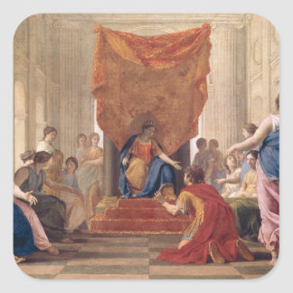 Poliphilus Kneeling before Queen Eleuterylida Square Sticker