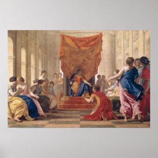 Poliphilus que se arrodilla ante la reina Eleutery Poster