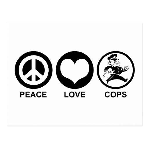 Polis del amor de la paz tarjeta postal