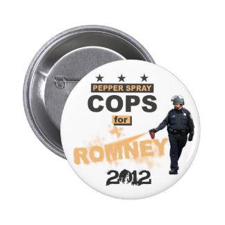 Polis del spray de pimienta para Romney 2012 Pin Redondo 5 Cm