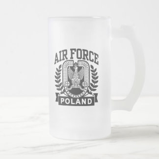 Polish Air Force Frosted Glass Beer Mug