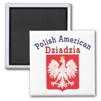 Polish American Dziadzia 2 Inch Square Magnet