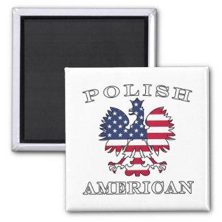Polish American Flag Eagle 2 Inch Square Magnet