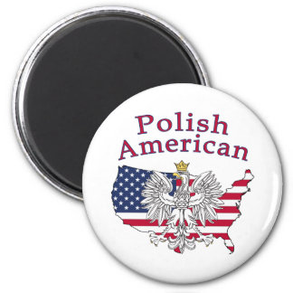 Polish American Map 2 Inch Round Magnet