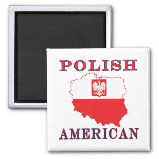 Polish American Map 2 Inch Square Magnet
