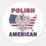 Polish American Map Round Sticker
