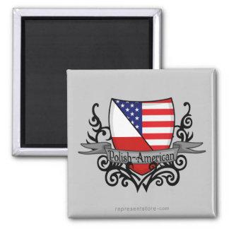 Polish-American Shield Flag 2 Inch Square Magnet