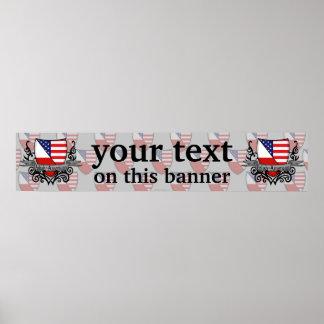 Polish-American Shield Flag Banner Poster