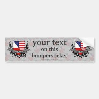 Polish-American Shield Flag Car Bumper Sticker