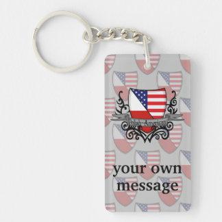 Polish-American Shield Flag Keychain