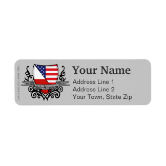 Polish-American Shield Flag Label