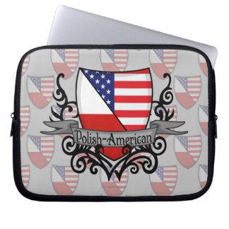 Polish-American Shield Flag Laptop Computer Sleeve