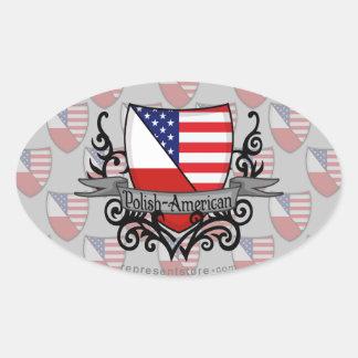 Polish-American Shield Flag Oval Sticker