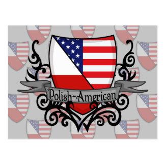 Polish-American Shield Flag Postcard
