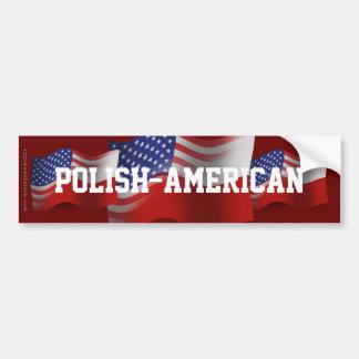 Polish-American Waving Flag Car Bumper Sticker