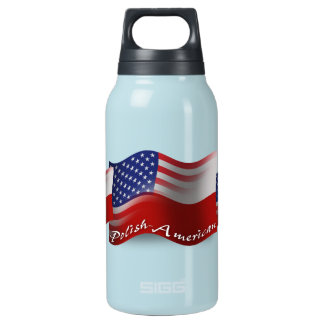 Polish-American Waving Flag Insulated Water Bottle