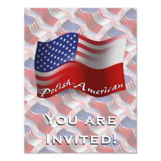 Polish-American Waving Flag 4.25x5.5 Paper Invitation Card