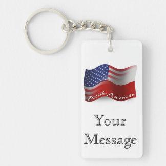 Polish-American Waving Flag Keychain