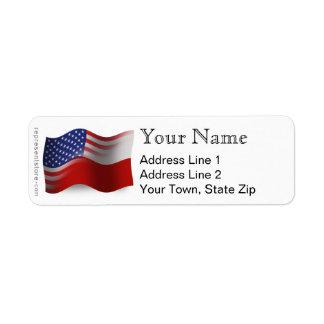Polish-American Waving Flag Label