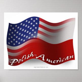 Polish-American Waving Flag Poster