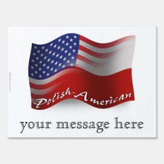 Polish-American Waving Flag Yard Sign