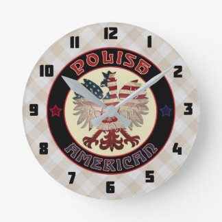 Polish American White Eagle Round Clock