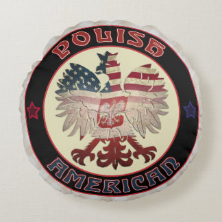 Polish American White Eagle Round Cushion