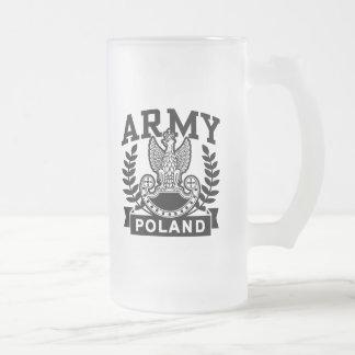 Polish Army 16 Oz Frosted Glass Beer Mug