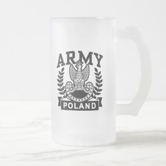 Polish Army Frosted Glass Beer Mug