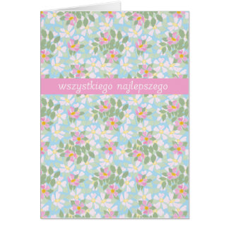 Polish Birthday Card: Pink Dogroses on Blue Greeting Card