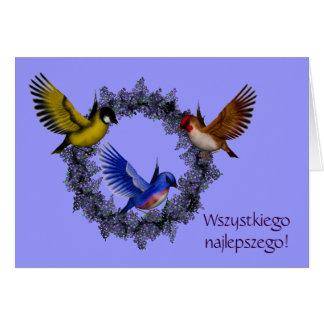 Polish Birthday Card Sto Lat Birds Flower Wreath