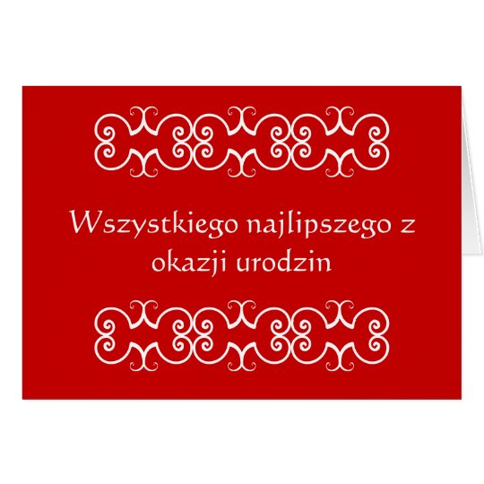 Polish Birthday Greeting Card