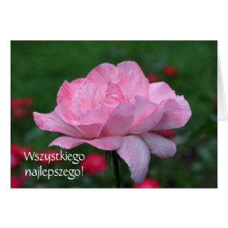 Polish Birthday Sto Lat Pink Rose Floral Card