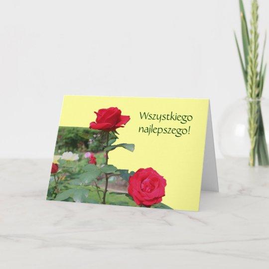 Polish Birthday Sto Lat Red Roses Card Zazzle