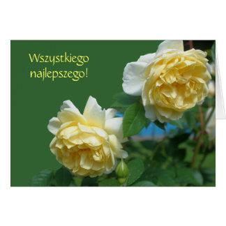 Polish Birthday Sto Lat Yellow Roses Card