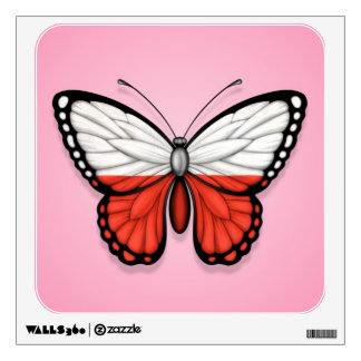 Polish Butterfly Flag on Pink Wall Decal