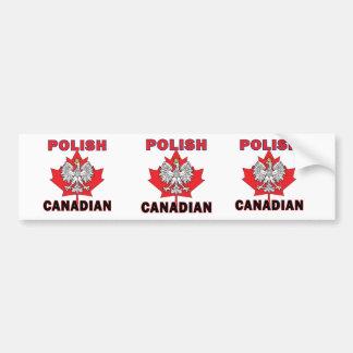 Polish Canadian Eagle Leaf Car Bumper Sticker