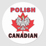 Polish Canadian Eagle Leaf Round Sticker