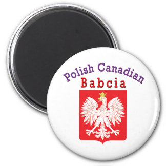 Polish Canadian Eagle Shield Babcia 2 Inch Round Magnet