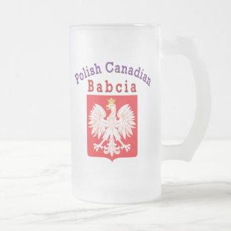 Polish Canadian Eagle Shield Babcia Frosted Glass Beer Mug