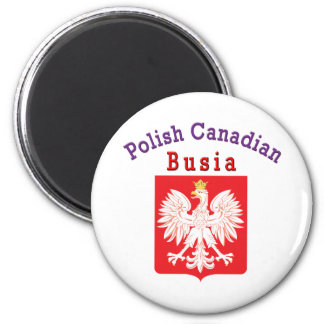 Polish Canadian Eagle Shield Busia 2 Inch Round Magnet