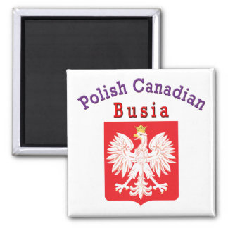 Polish Canadian Eagle Shield Busia 2 Inch Square Magnet