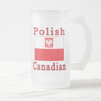 Polish Canadian Falcon Flag Frosted Glass Beer Mug