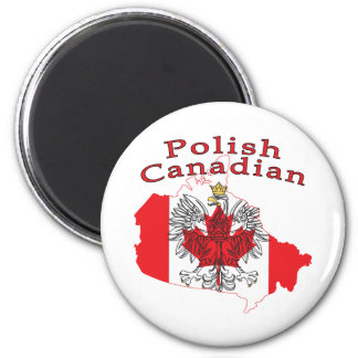 Polish Canadian Flag Map 2 Inch Round Magnet